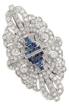 Platinum, Sapphire and Diamond Double Clip-Brooch - c. 1935.