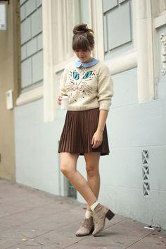 Cat sweater, pleated skirt, allover cuteness