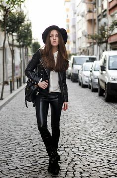 leather trousers with glam rock outfit