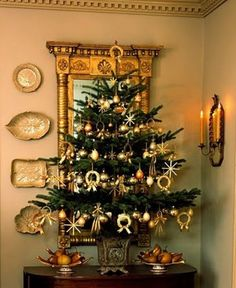 Tabletop Christmas tree with gold accents
