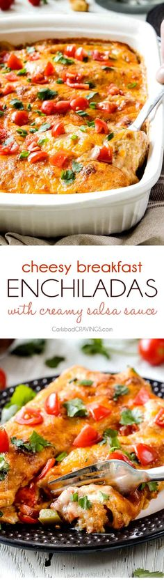 Easy, hearty Breakfast Enchiladas stuffed with your favorite breakfast ingredients then smothered with intoxicatingly delicious Creamy Salsa Sauce! These enchiladas are totally customizable, perfect f (Mexican Breakfast Recipes) Breakfast For Dinner, Breakfast Dishes, Breakfast Time, Best Breakfast, Christmas Breakfast, Breakfast Ideas, Mexican Breakfast Recipes, Brunch Recipes, Mexican Food Recipes
