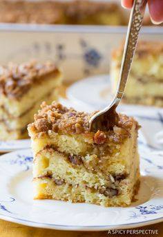 Crumbly Kahlua Coffee Cake Recipe | ASpicyPerspective.com Kahlua Recipes, Coffee Recipes, Just Desserts, Delicious Desserts, Yummy Food, Cake Roll Recipes, Dessert Recipes, Sour Cream Coffee Cake, Brunch