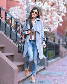 <cognac + gray layers> new outfit post on the blog from this chilly week ~ lots on sale today including my jeans, sunglasses, trench & more! #boston #wiw #weekendvibes #saturdaymornings