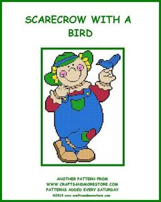 SCARECROW WITH A BIRD by JODY -- WALL HANGING 1/2