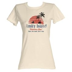 Jaws 70's Shark Thriller Vintage Style Amity Island Welcomes You Juniors T-Shirt #2Bhip #GraphicTee