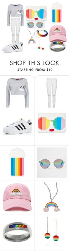 """""""Rainbow Outfit"""" by kiyah98077 on Polyvore featuring Boohoo, River Island, adidas, Alice + Olivia, STELLA McCARTNEY, Forever 21, Gucci, Carolina Glamour Collection and Venessa Arizaga"""