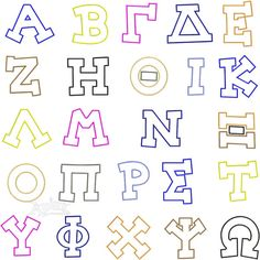 "Greek Applique Block Caps Embroidery Fonts. Four Sizes: 4"" 6"" 8"" and 12"" Sizes Font"