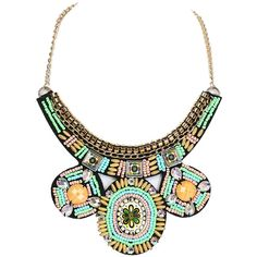 Multicolor Beaded Boho Chain Statement Collar Necklace ($17) ❤ liked on Polyvore featuring jewelry, necklaces, multi colored bead necklace, collar necklace, colorful necklace, boho jewelry and colorful bead necklace