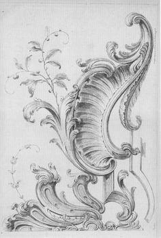 Flourish Line Drawing Tattoos, Motif Arabesque, Molduras Vintage, Ornament Drawing, Door Murals, Wood Carving Patterns, Rococo Style, Victorian Art, Architectural Elements