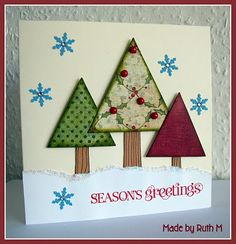 Triangle trees Season's Greetings card - fab for using patterned paper scraps