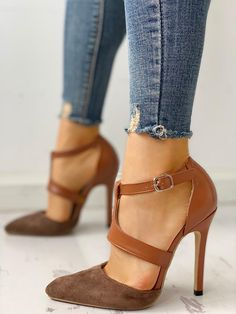 587902cf49a9 Shop Pointed Toe Suede   PU Cut Out Heels right now