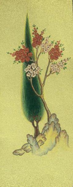 Cahide Keskiner - Minyatür Sanatında Doğa Çizim ve Boyama Teknikleri Servi ve bahar ağacı