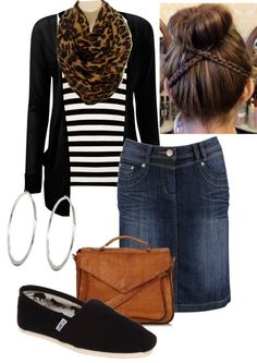 Toms Shoes OFF!>> Black cardigan striped tee leopard infinity scarf denim skirt silver hoop earrings tan messenger bag and black Toms with high sock bun. Love this outfit! Apostolic Clothing, Apostolic Fashion, Modest Fashion, Fashion Outfits, Pentecostal Clothing, Modest Clothing, Fashion Clothes, Apostolic Style, Fashion Top
