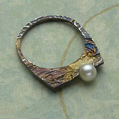 Reticulated Silver Ring with Pearl. $146.00, via Etsy.