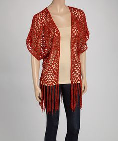 Look what I found on #zulily! Rust Cape-Sleeve Fringe Open Cardigan #zulilyfinds