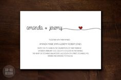 HEART WEDDING INVITATION DIGITAL CARD:    A modern simple customizable wedding invitation for DIY printing.    ABOUT:    This listing is for a 5 x 7