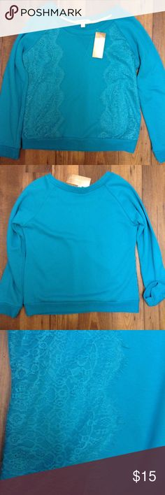 Francesca's Blue Lace Sweater NWT Blue sweater with Lace in the front. Open to reasonable offers! Francesca's Collections Sweaters Crew & Scoop Necks