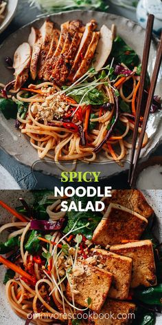 Crunchy, spicy and slightly sweet, my spicy rice noodle salad makes a versatile and delightful meal any time! Indian Food Recipes, Asian Recipes, Beef Recipes, Vegetarian Recipes, Cooking Recipes, Noodle Recipes, Yummy Pasta Recipes, Lunch Recipes, Dinner Recipes
