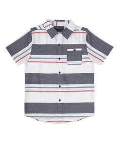 Gray & Red Stripe Button-Up - Toddler & Boys