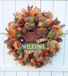 Fall Wreath, Fall Welcome Wreath, Fall Mesh Wreath, Fall Burlap Wreath, Pumpkin Truck Wreath, Autumn Welcome Wreath, Autumn Burlap Wreath