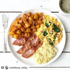 This looks like a weekend breakfast if I ever saw one! # Repost @nutritious_nicky  # Going back to basics with my brekkie this morning #whole30 style On my plate I have sweet potato & butternut squash roasted in @chosenfoods avocado oil & sprinkled with @primalpalate breakfast blend @spoiltpig bacon (the best) organic sauerkraut scrambled @clarence_court eggs with spinach & a black coffee with 1 tsp of @fushiwellbeing ghee 1 tsp of @bulletproof upgraded octane oil & a scoop of @vitalproteins…
