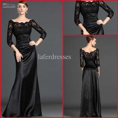 In Store!!Hot Sale Lace Pleat Black Long Sleeve Prom Dresses Gown Mermaid Evening Dress DH6128
