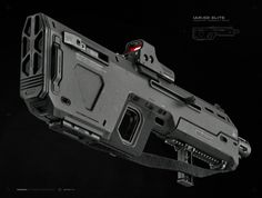 INDUSTRIES™ ELITE Infantry Assault Rifle - enhanced unibody design with integrated launcher/shotgun, feat. dual pica-tinny rails, tactical foregrip, bipod/tripod, mark 2 muzzle-break and party holographic - optical weapon systems. Sci Fi Weapons, Armor Concept, Weapon Concept Art, Fantasy Weapons, Weapons Guns, Guns And Ammo, Futuristic Armour, Futuristic Art, Armes Futures