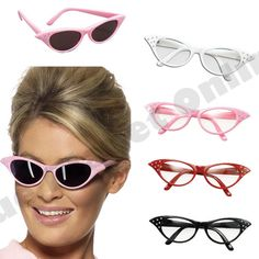 21cbaaeaf13 1950s 50s pink lady rock n roll sunglasses glasses grease fancy dress  costume