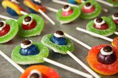 Monster eyeballs made with Dum lollipops, Gummy Rings, and M&M's
