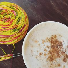 I went for a double wake up call this morning. Extra shot #pumpkinspicelatte and super bright neon yarn from @countessablaze. Wide awake in no time and ready for world domination.  #coffeeandknitting #vscocam #vsco #knittersofig #igknitters #knitting #summersockkal #socktawk #boxosoxkal #knitstagram #knitlove #toeupsocks #ilovesocks #handknitsocks #sockknitters #instaknit #indieyarn #indiedyer #yarnlove #creativehappylife #livecreatelove #thesimplethings #quietmoments #autumn