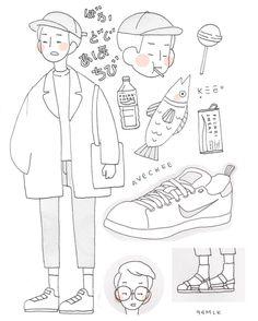 """""""in class doodles part one! Character Illustration, Illustration Art, Character Art, Character Design, Dibujos Cute, Korean Art, Aesthetic Art, Cute Drawings, Cute Art"""