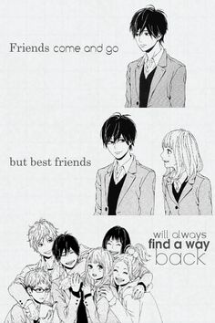"Karunase — ""Friends come and go, but best friends will always. Sad Anime Quotes, Cartoon Quotes, Manga Quotes, Anime Best Friends, Friend Anime, Anime Manga, Anime Art, Otaku Anime, Anime Chibi"