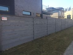Grey pre-sealed horizontal lap fence with thin cap. Installed by Titan Fence & . Grey pre-sealed h Vista Landscape, Building A Fence, Horizontal Fence, Backyard, Grey, Outdoor Decor, Modern, Home, Patio