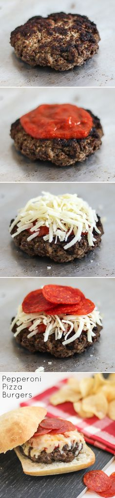 Steve's Pepperoni Pizza Burgers_   Combining two of the most popular and delicious foods doesn't sound like a bad idea! It has a bit of an Italian twist that's very family friendly. Wouldn't this be yummy with a little greek salad on the side!? A girl's gotta have her greens! Maybe even spice it up a bit with a few caramelized onions or jalapeños.