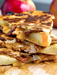 BBQ Chicken, Apple, Bacon Quesadillas