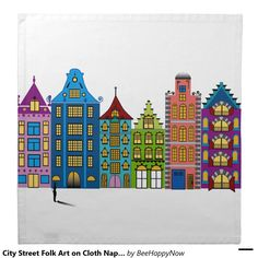 City Street Folk Art on Cloth Napkins