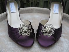 Vintage Inspired Purple Eggplant Bridal Shoes with Pearls and Crystal Rhinestone Design - Over 100 Color Shoe Choices to Pick From. $135.99, via Etsy.