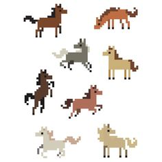 8 Mini Pixel Horse Stickers by pixelatedcowboy