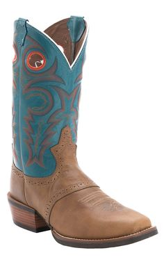 Justin® Men's Silver Collection Tan Buffalo Saddle Vamp with Turquoise Top Punchy Toe Cowboy Boots