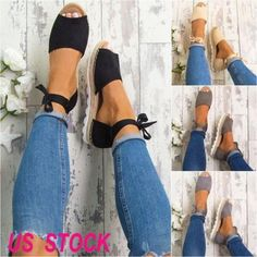 Women Ladies Flat Espadrilles Peep toe Pumps Bowknot Summer Casual Sandals Shoes in Clothing, Shoes & Accessories, Women's Shoes, Flats Flat Espadrille Sandals, Heeled Espadrilles, Pumps, Pump Shoes, Wedge Shoes, Platform Shoes, Women's Shoes, Club Shoes, Ankle Strap Flats