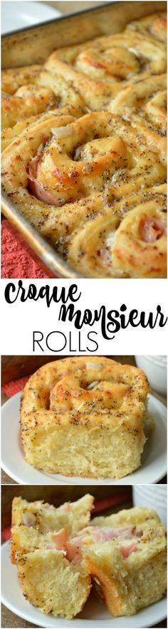 Croque Monsieur Rolls are everything you love about the famous grilled ham and cheese sandwich stuffed into a savory roll. Its perfect for brunch Breakfast Dishes, Best Breakfast, Breakfast Recipes, Bakery Recipes, Brunch Recipes, Cooking Recipes, My Favorite Food, Favorite Recipes, Grilled Ham And Cheese
