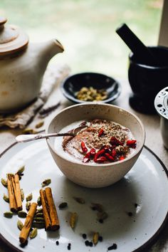 chai teff porridge with coconut milk | naturally vegan and gluten free recipe via willfrolicforfood.com