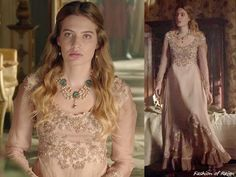 """In the episode 3x06 (""""Fight or Flight"""") Amy Dudley wears a vintage 1970s Alfred Angelo by Edythe Vincent Appliqué Gown. The stunning embrodery was added by the costume department."""