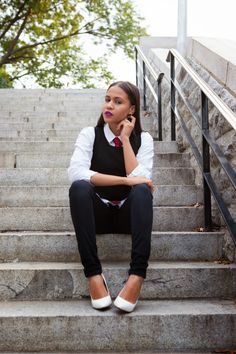 ChicMyStylesChicMyStyles, Girl Boss Outfit, Red Tie, Black and white outfit, White heels, Purple Lips, Womens fashion.
