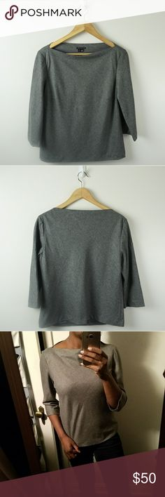 Theory Kelsea Bateau Neck Feather Flannel in Gray Wool blend gray blouse with a boat neck and 3/4 sleeves. In great condition. No noticed flaws or defects.  Bust: 38 inches Length: 21.5 inches Sleeve: 17 inches Theory Tops Blouses