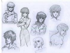 Motoko Kusangi character sketches based on the 1995 anime, Ghost in the Shell