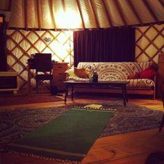 evening yoga in a yurt