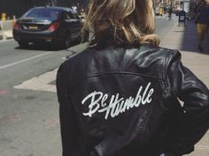 Be Humble Jacket by Jenna Bresnahan on Dribbble Custom Leather Jackets, Vintage Leather Jacket, Cool Jackets, Jackets For Women, Denim Jackets, Custom Clothes, Diy Clothes, Casual Outfits, Cute Outfits