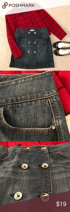 """WH/BM Demin Skirt with Bling Cute denim skirt from White House/Black Market. Big silver buttons in 2 rows down the front.  Tiny bling (faux diamonds) at each of the 4 pockets.  18"""" long. Mint condition.  Pairs easily with just about anything! White House Black Market Skirts Mini"""