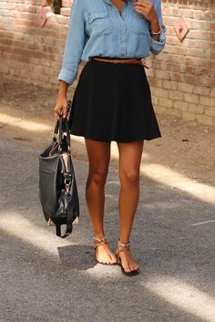 Street style | Simple denim shirt, black skirt, brown belt, flats, handbag